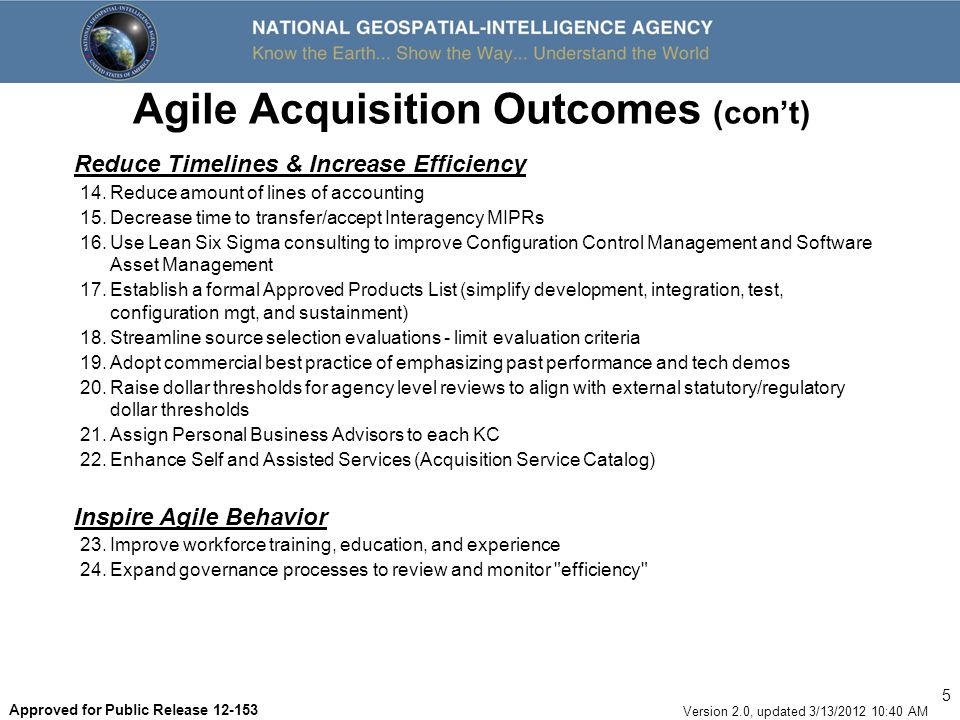 Agile Acquisition Outcomes (con't)