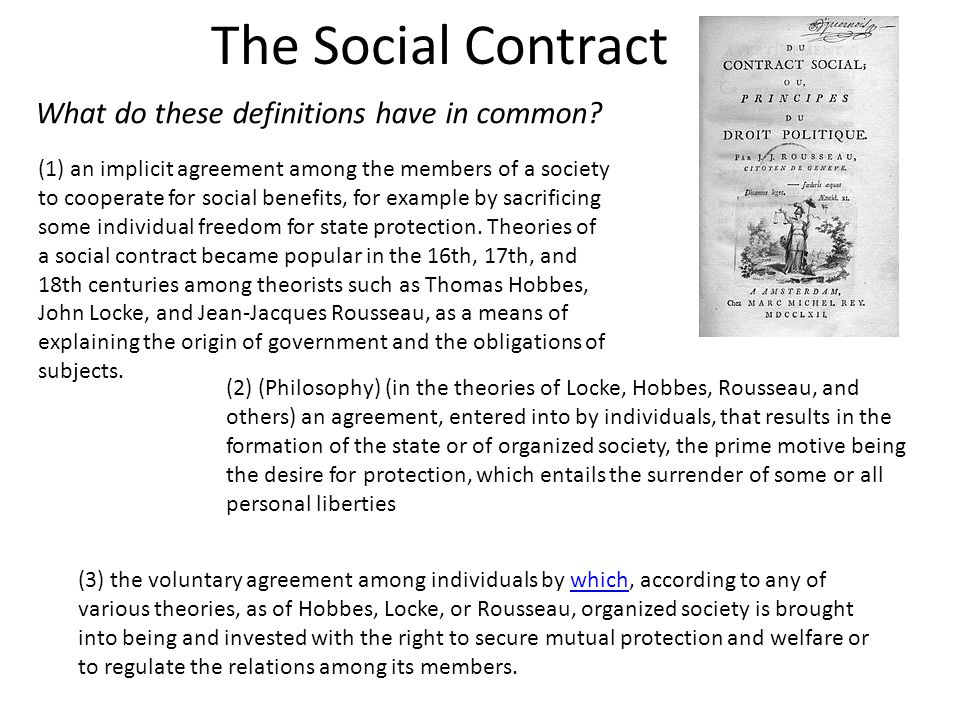 The Social Contract What do these definitions have in common