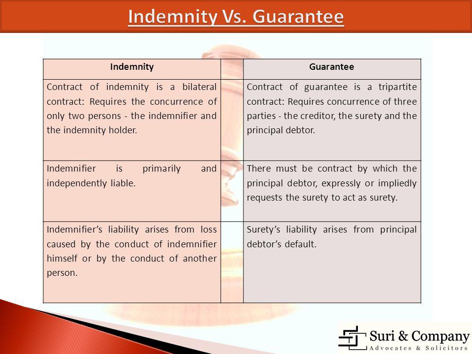Indemnity Vs. Guarantee