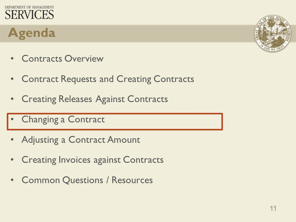 Agenda Contracts Overview Contract Requests and Creating Contracts