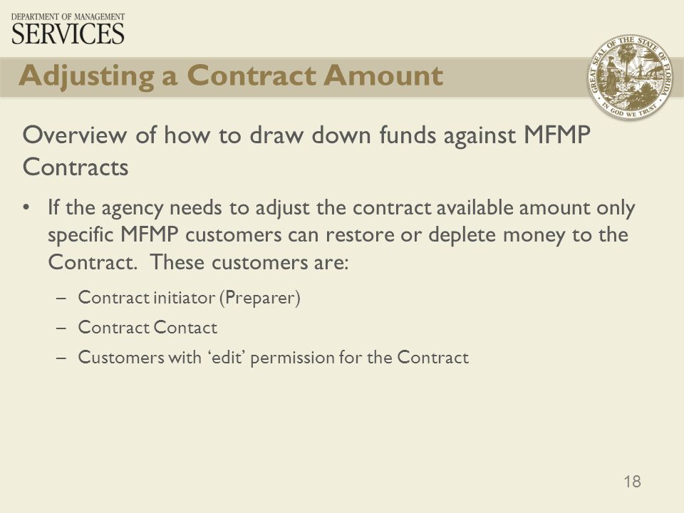 Adjusting a Contract Amount
