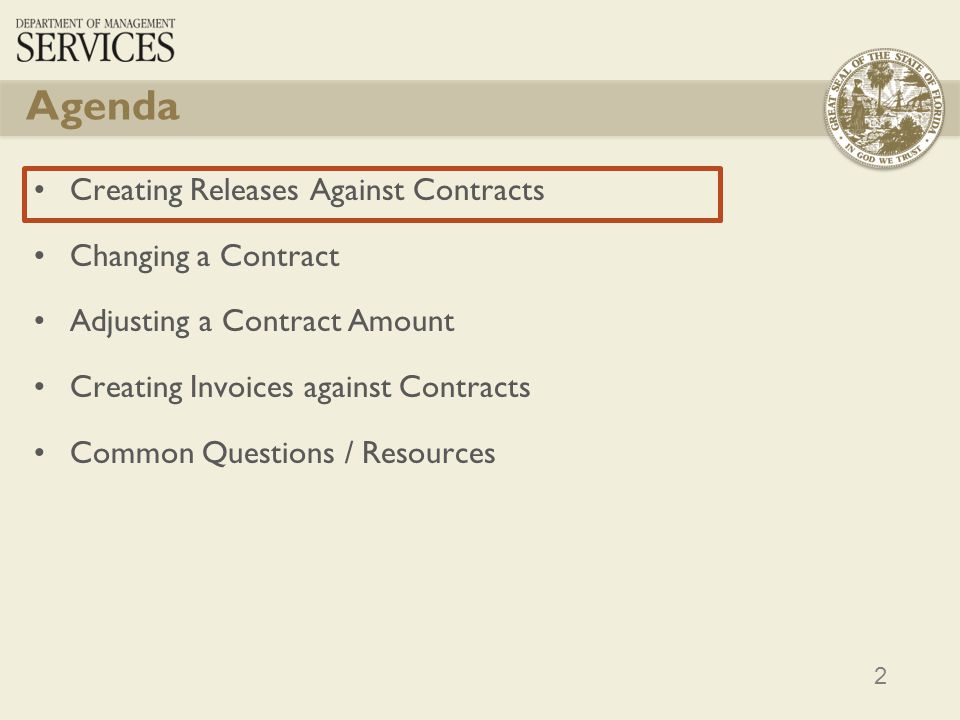 Agenda Creating Releases Against Contracts Changing a Contract