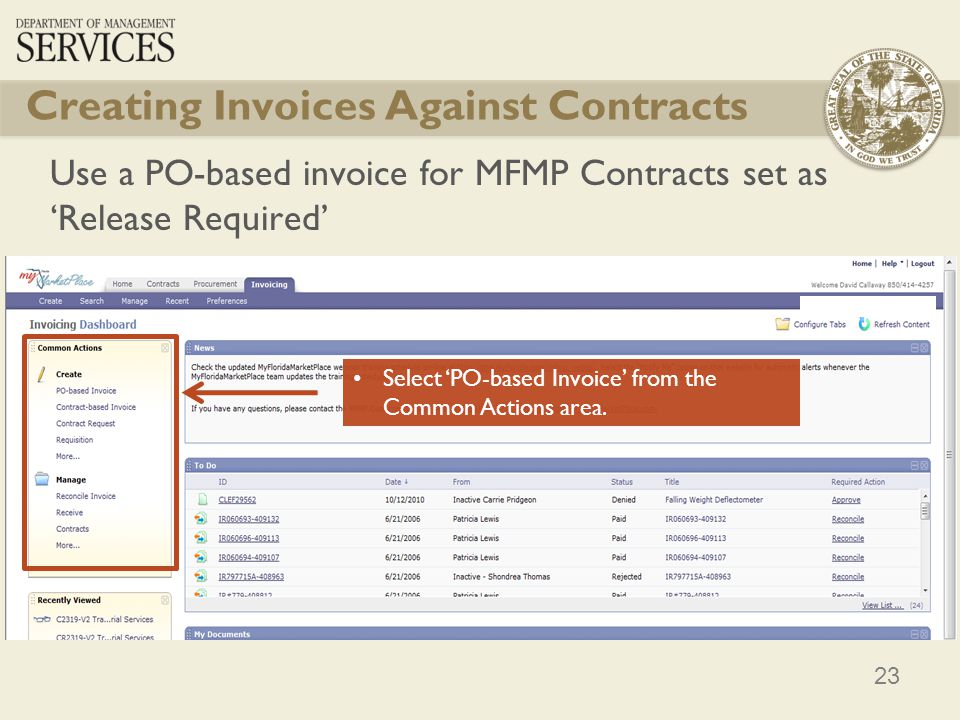 Creating Invoices Against Contracts