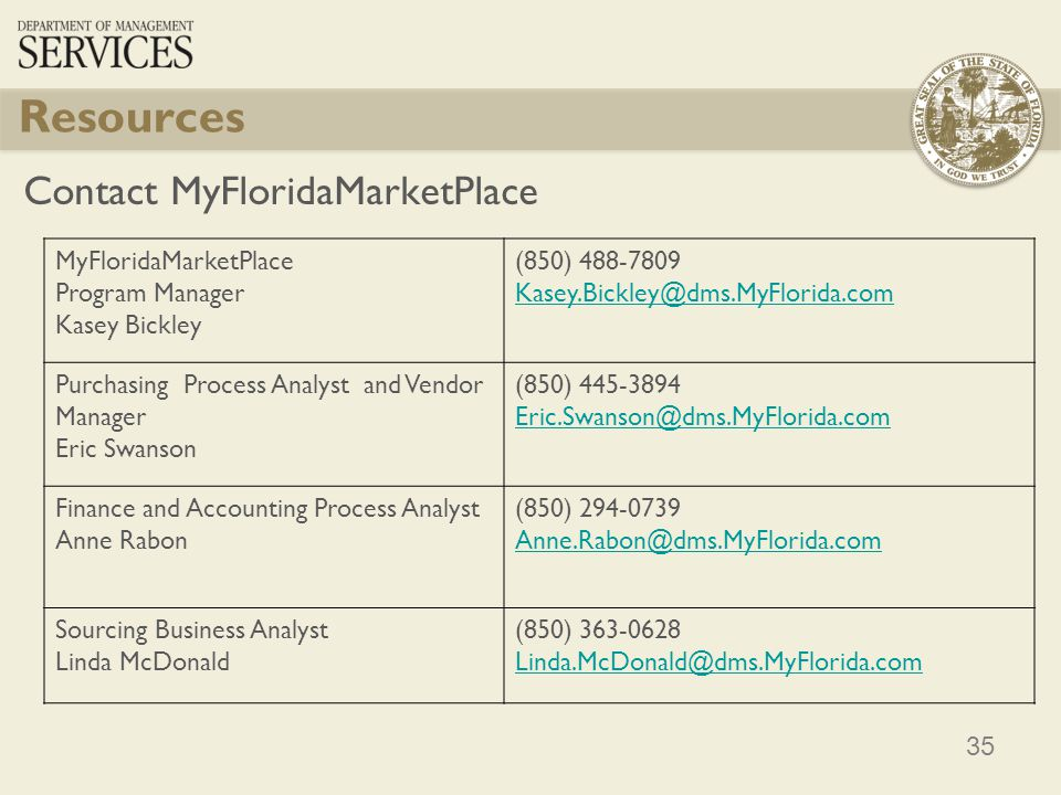 Resources Contact MyFloridaMarketPlace MyFloridaMarketPlace