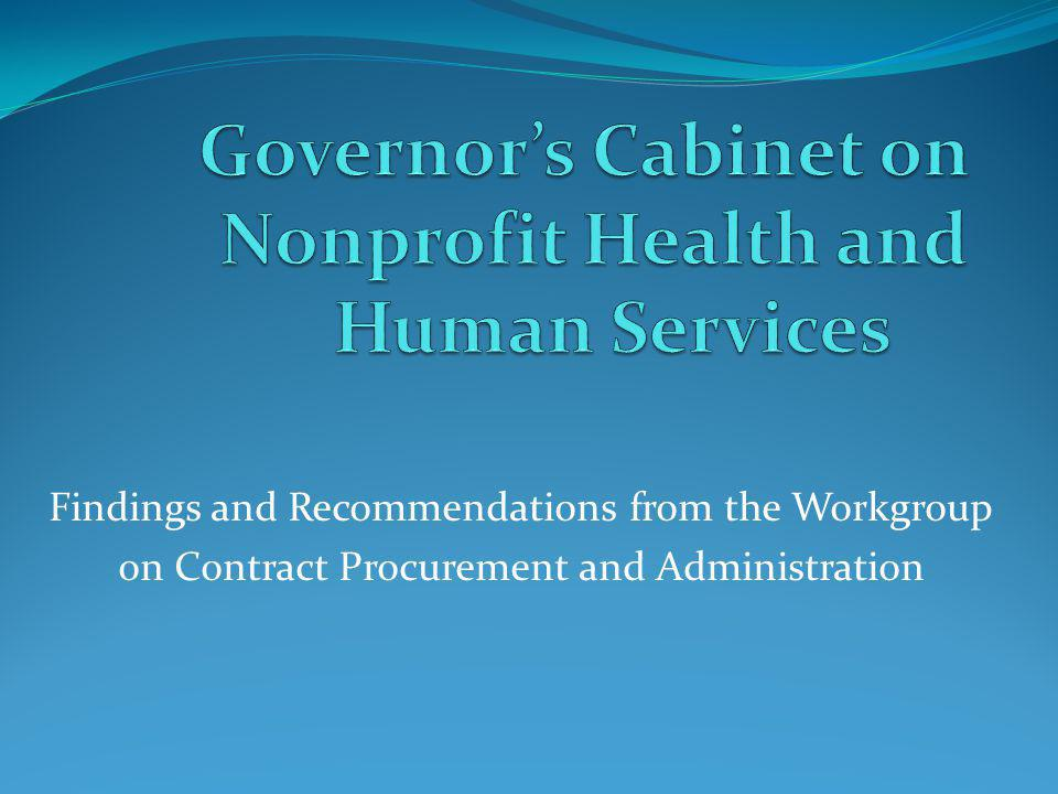 Governor's Cabinet on Nonprofit Health and Human Services