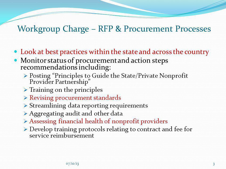 Workgroup Charge – RFP & Procurement Processes