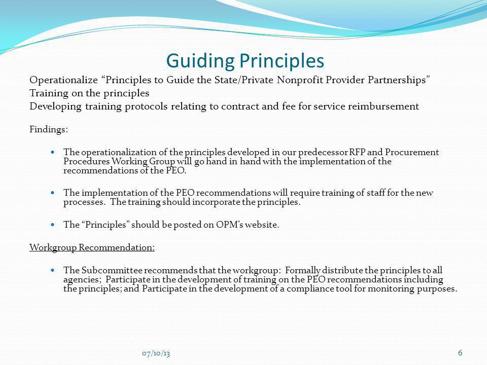 Guiding Principles Operationalize Principles to Guide the State/Private Nonprofit Provider Partnerships