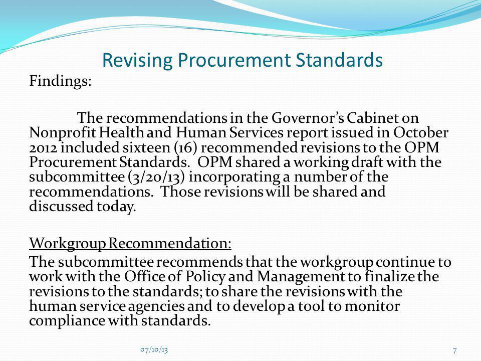 Revising Procurement Standards