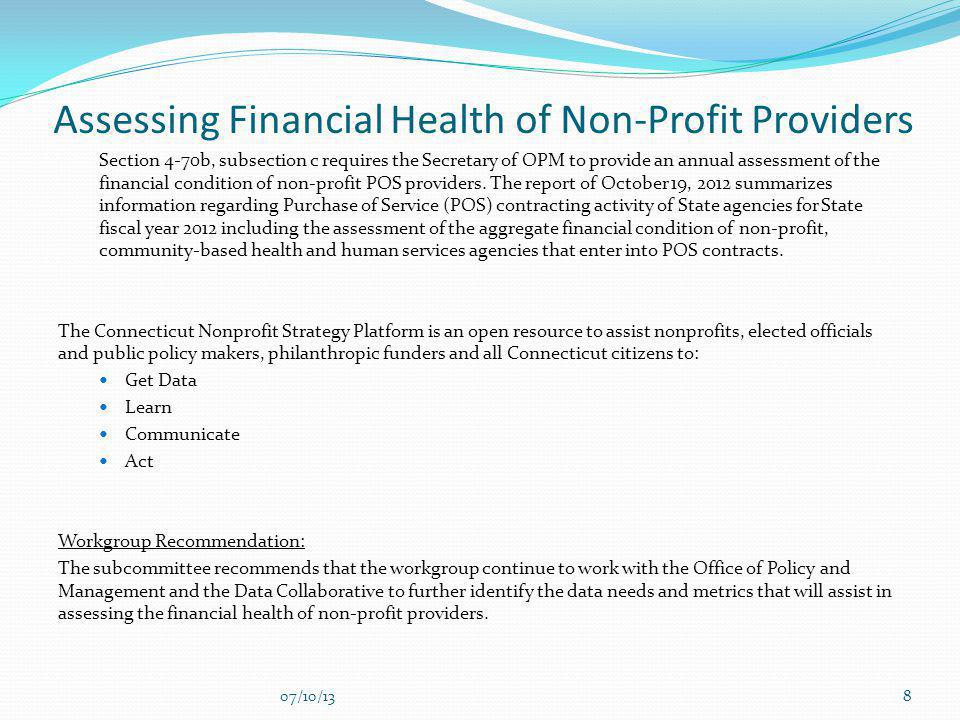 Assessing Financial Health of Non-Profit Providers