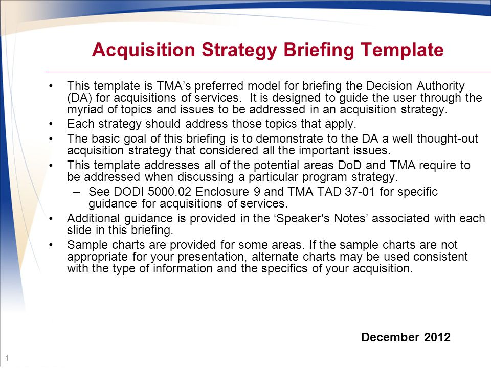 Acquisition Strategy Briefing Template  Ppt Video Online Download