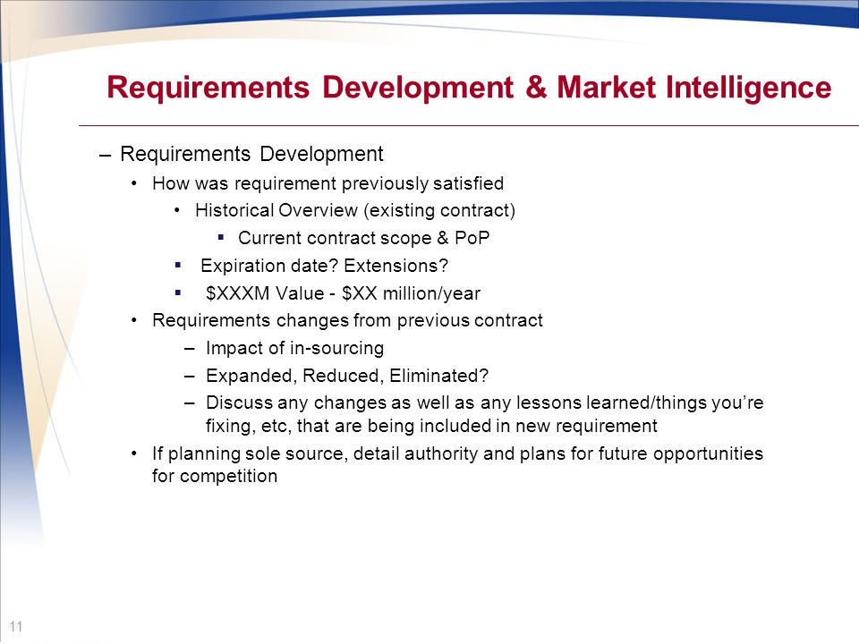 Requirements Development & Market Intelligence