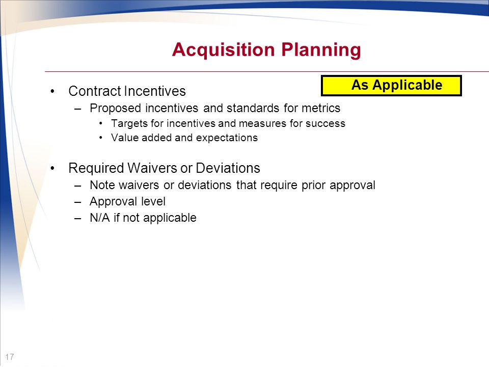 Acquisition Planning As Applicable Contract Incentives