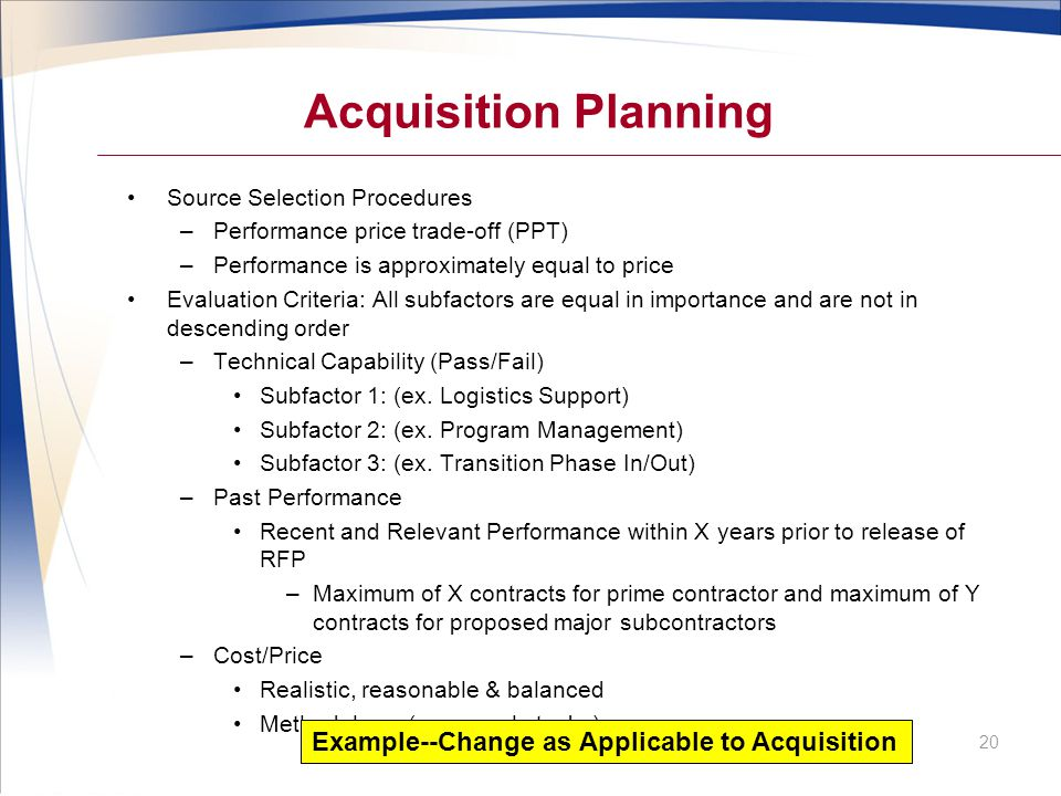 Acquisition Planning Example--Change as Applicable to Acquisition