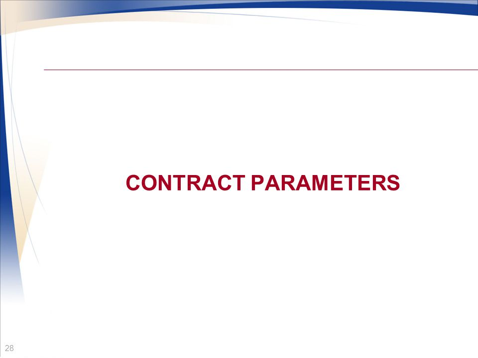 CONTRACT PARAMETERS