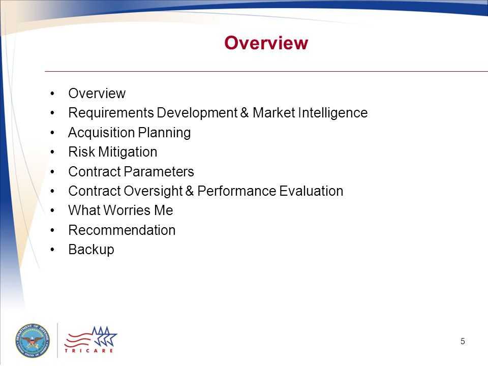 Overview Overview Requirements Development & Market Intelligence