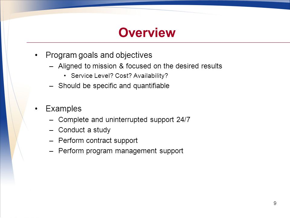 Overview Program goals and objectives Examples