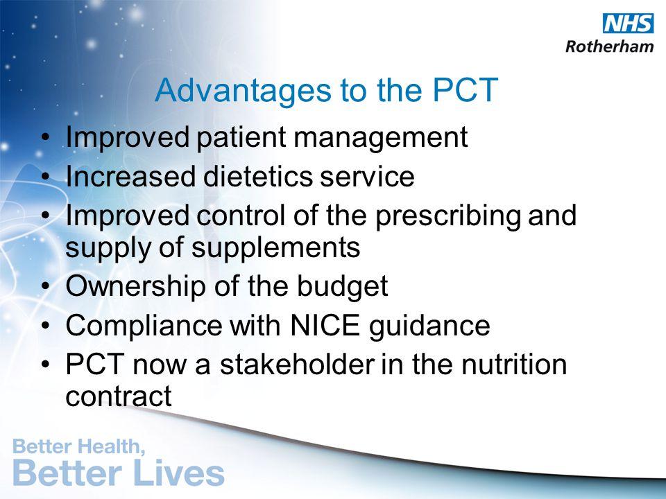 Advantages to the PCT Improved patient management