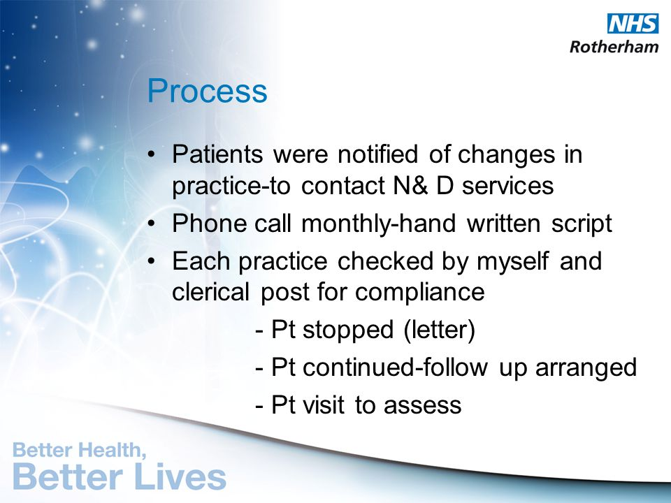 Process Patients were notified of changes in practice-to contact N& D services. Phone call monthly-hand written script.