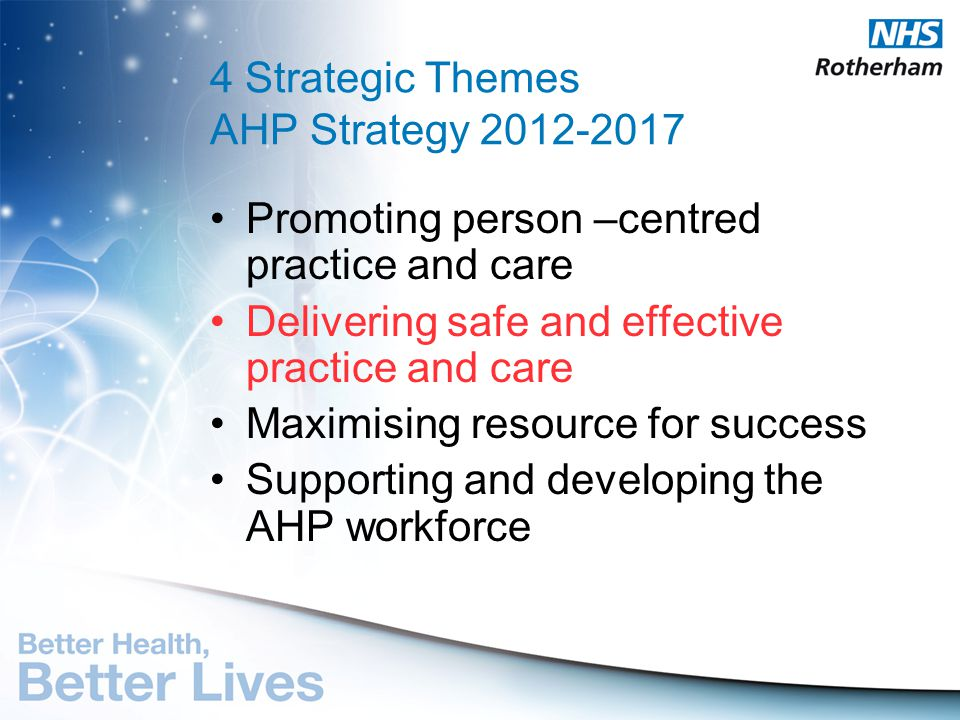 4 Strategic Themes AHP Strategy 2012-2017