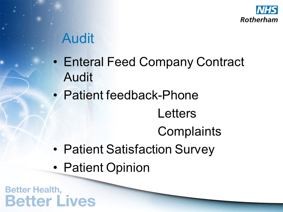 Audit Enteral Feed Company Contract Audit Patient feedback-Phone