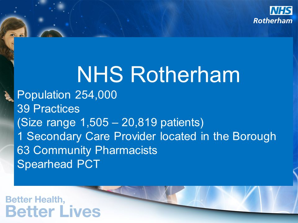 NHS Rotherham Population 254,000 39 Practices (Size range 1,505 – 20,819 patients) 1 Secondary Care Provider located in the Borough 63 Community Pharmacists Spearhead PCT