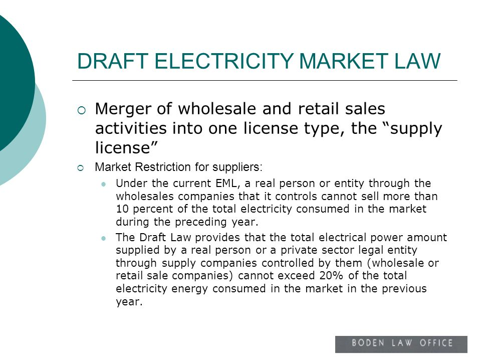 DRAFT ELECTRICITY MARKET LAW