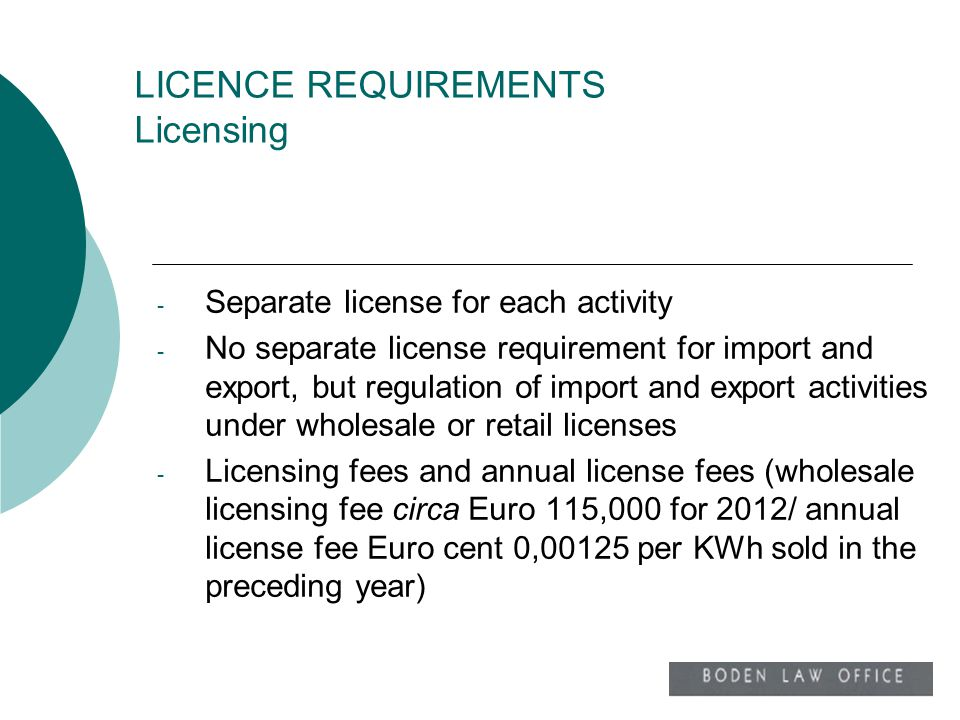 LICENCE REQUIREMENTS Licensing