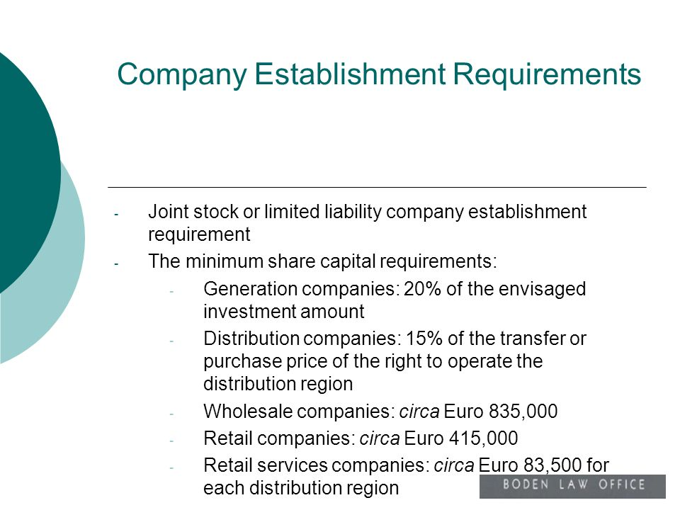 Company Establishment Requirements