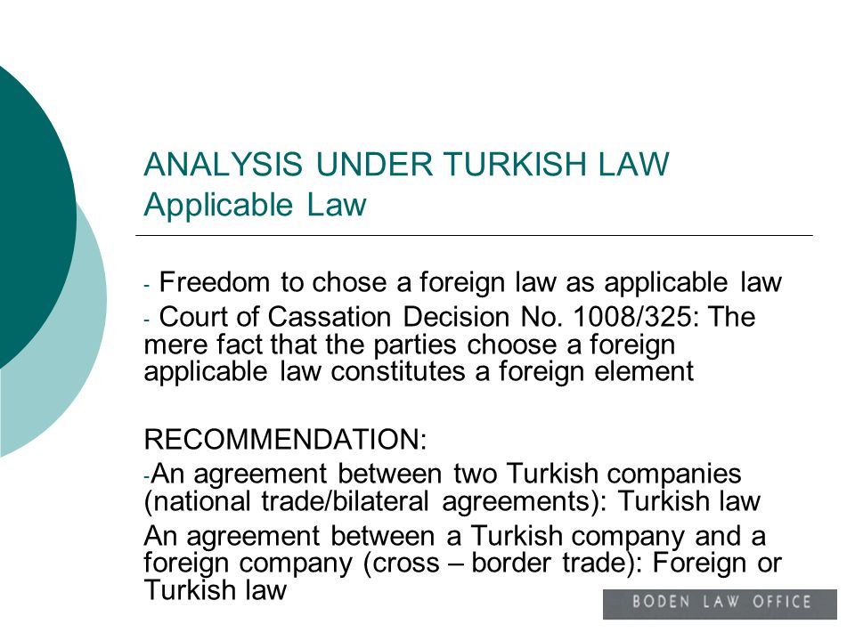 ANALYSIS UNDER TURKISH LAW Applicable Law