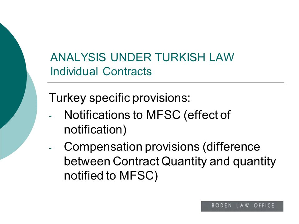 ANALYSIS UNDER TURKISH LAW Individual Contracts