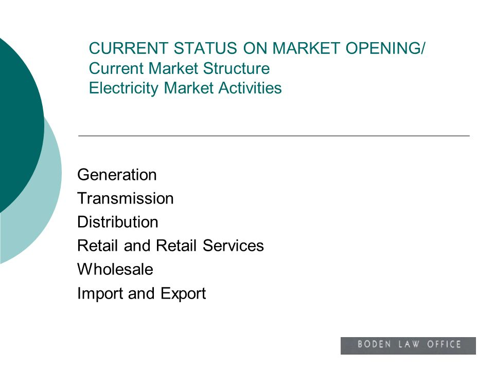 CURRENT STATUS ON MARKET OPENING/ Current Market Structure Electricity Market Activities