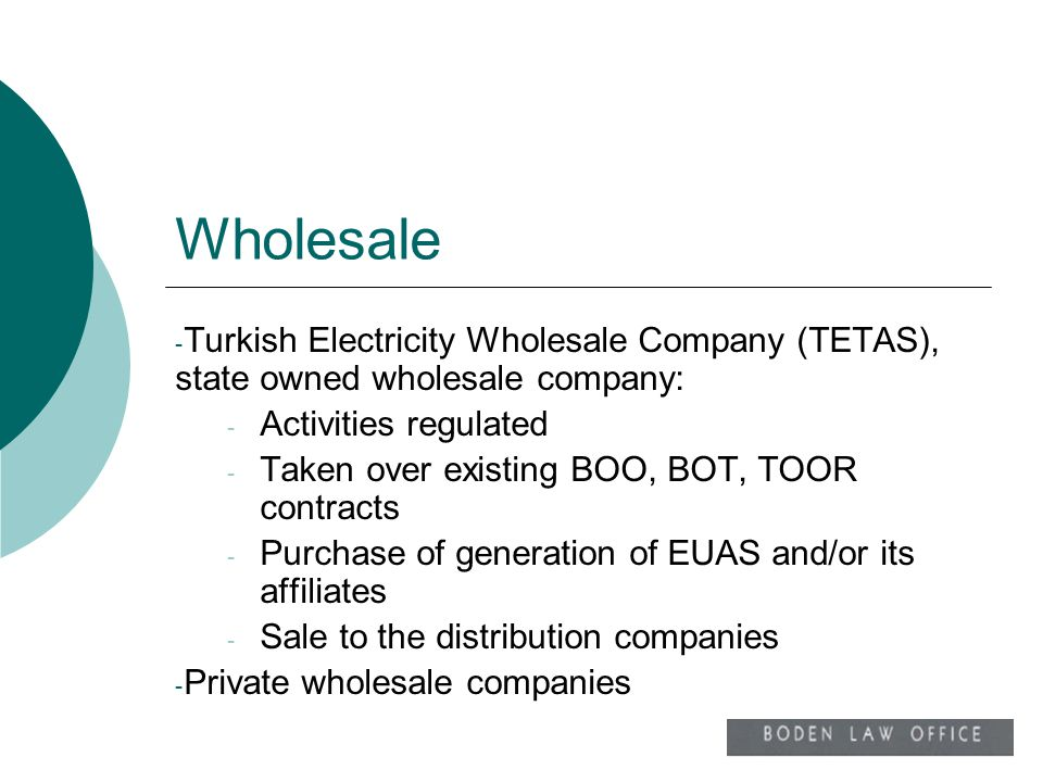 Wholesale Turkish Electricity Wholesale Company (TETAS), state owned wholesale company: Activities regulated.