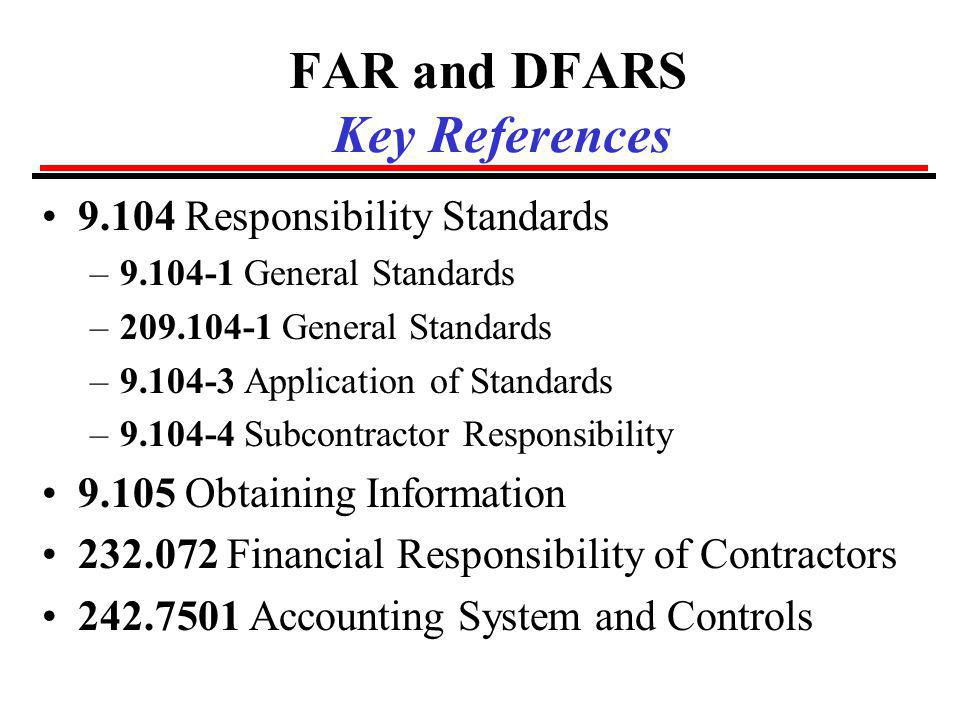 FAR and DFARS Key References