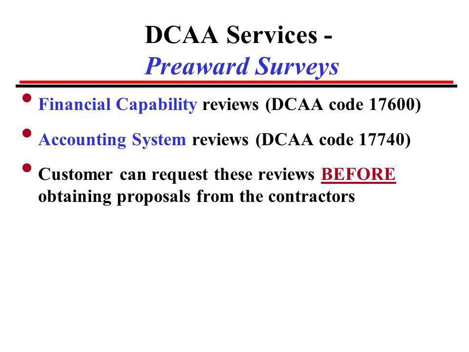 DCAA Services - Preaward Surveys