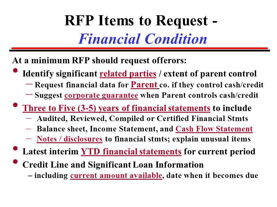 RFP Items to Request - Financial Condition