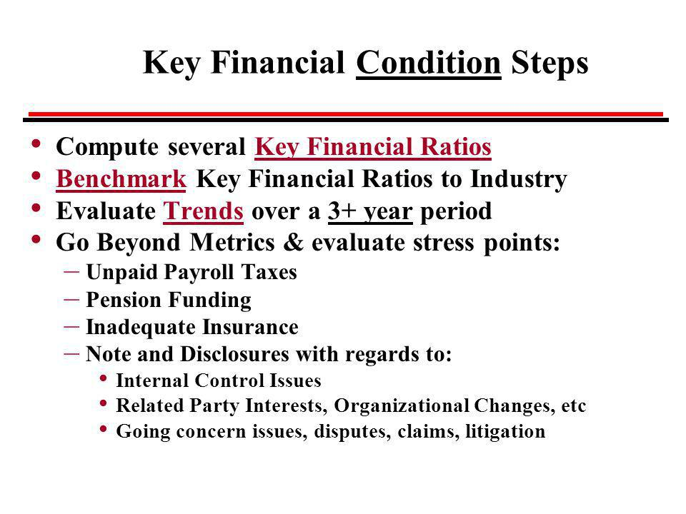 Key Financial Condition Steps