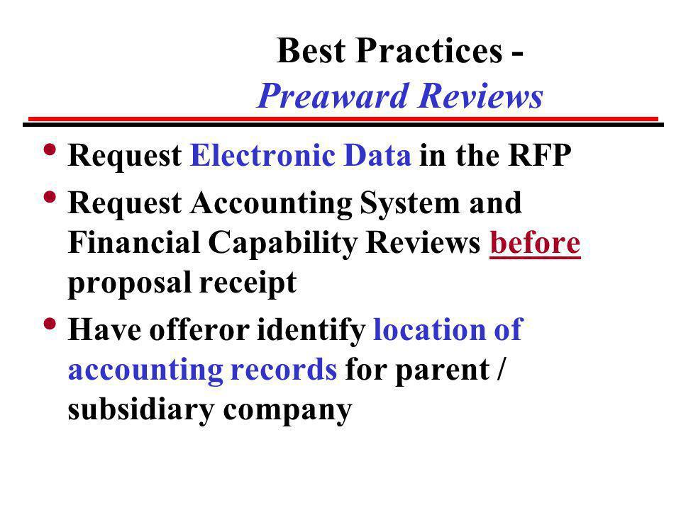 Best Practices - Preaward Reviews