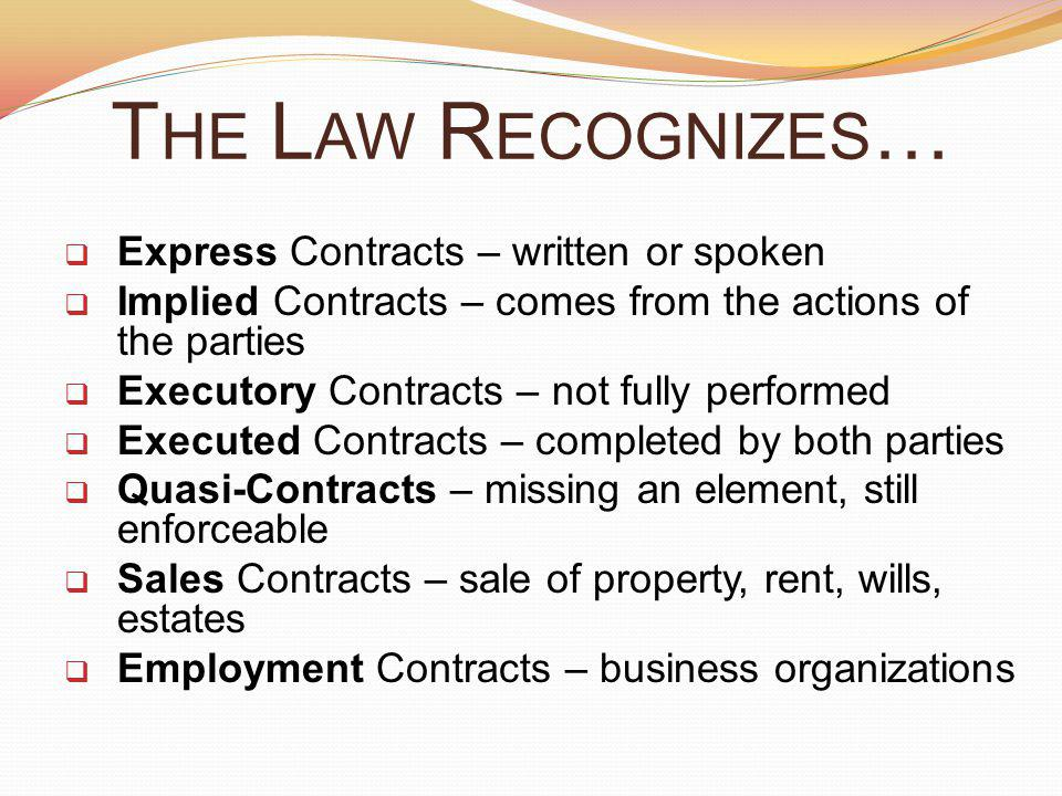 The Law Recognizes… Express Contracts – written or spoken