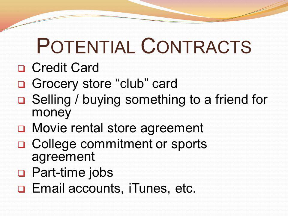 Potential Contracts Credit Card Grocery store club card