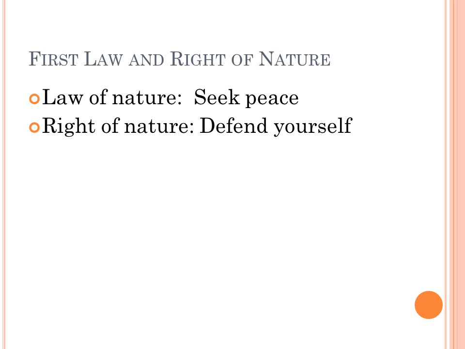 First Law and Right of Nature