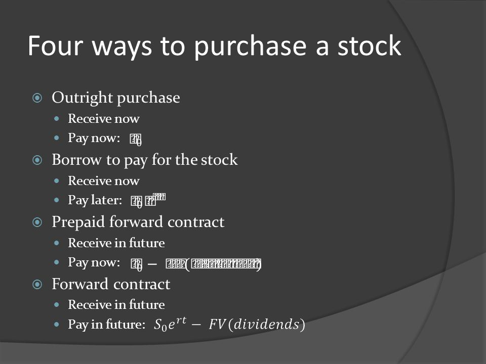 Four ways to purchase a stock