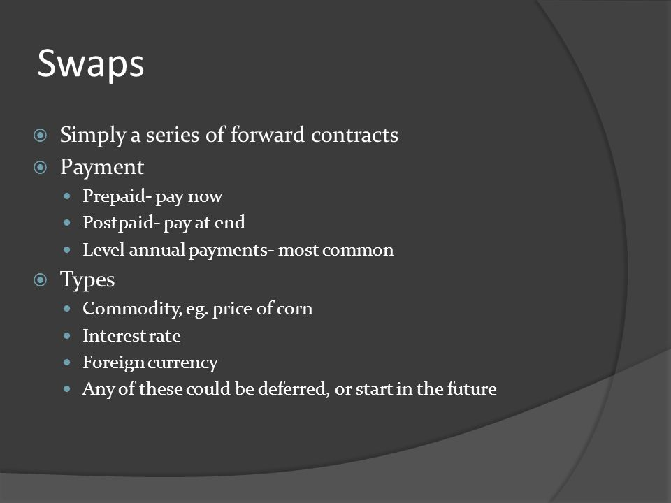 Swaps Simply a series of forward contracts Payment Types