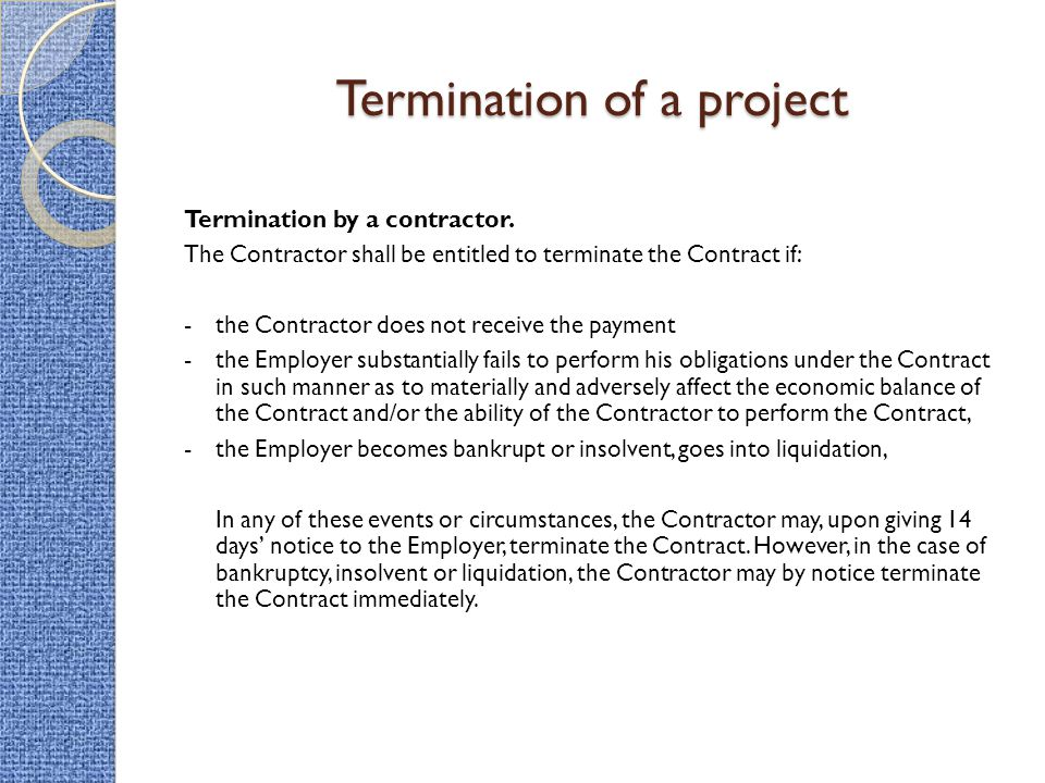 notice of termination of contract