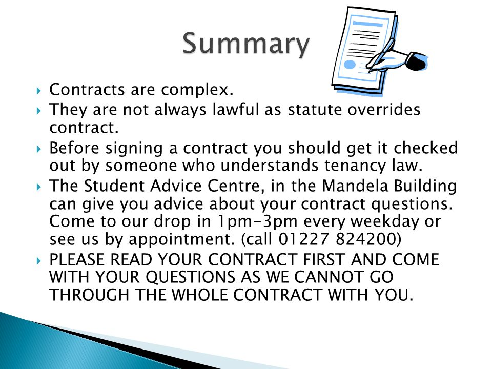Summary Contracts are complex.