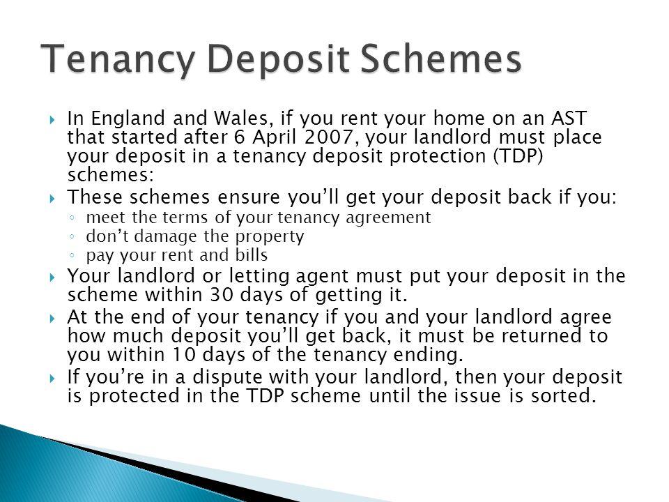 Tenancy Deposit Schemes
