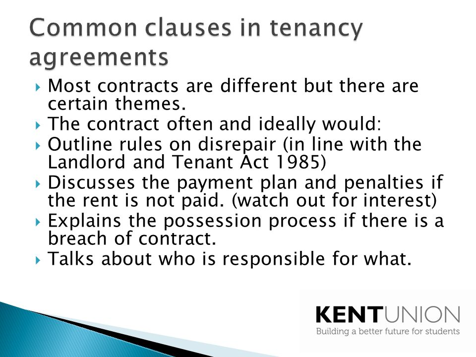 Common clauses in tenancy agreements