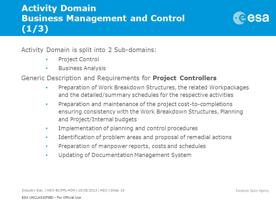 Activity Domain Business Management and Control (1/3)