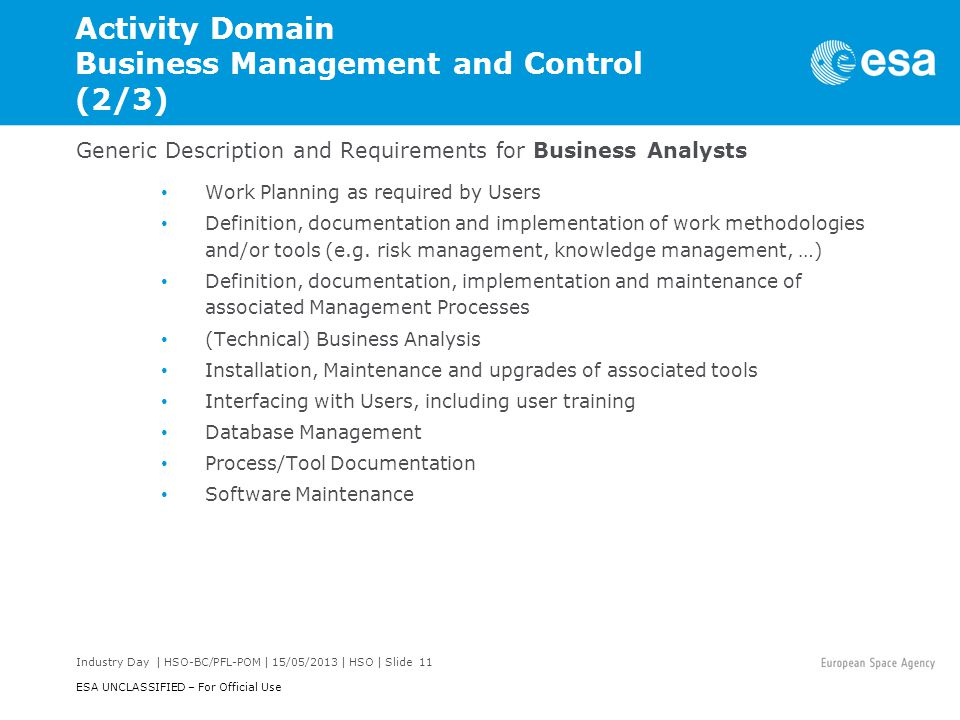 Activity Domain Business Management and Control (2/3)