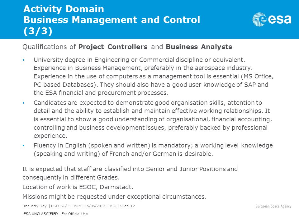 Activity Domain Business Management and Control (3/3)