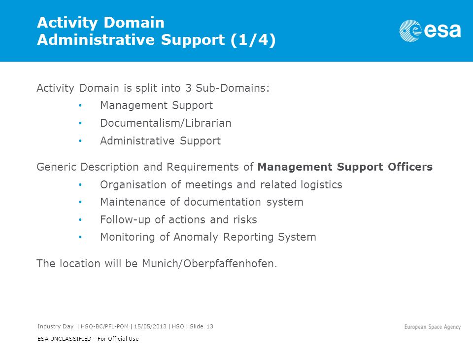 Activity Domain Administrative Support (1/4)